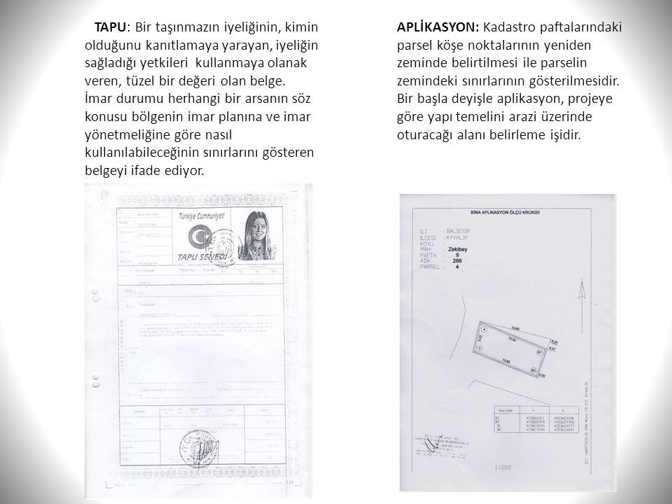 TAPU: Bir taşınmazın iyeliğinin, kimin olduğunu kanıtlamaya yarayan, iyeliğin sağladığı yetkileri kullanmaya olanak veren, tüzel bir değeri olan belge