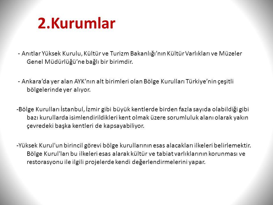 2.Kurumlar - Anıtlar Yüksek Kurulu, Kültür ve Turizm Bakanlığı'nın Kültür Varlıkları ve Müzeler Genel Müdürlüğü'ne bağlı bir birimdir. - Ankara'da yer