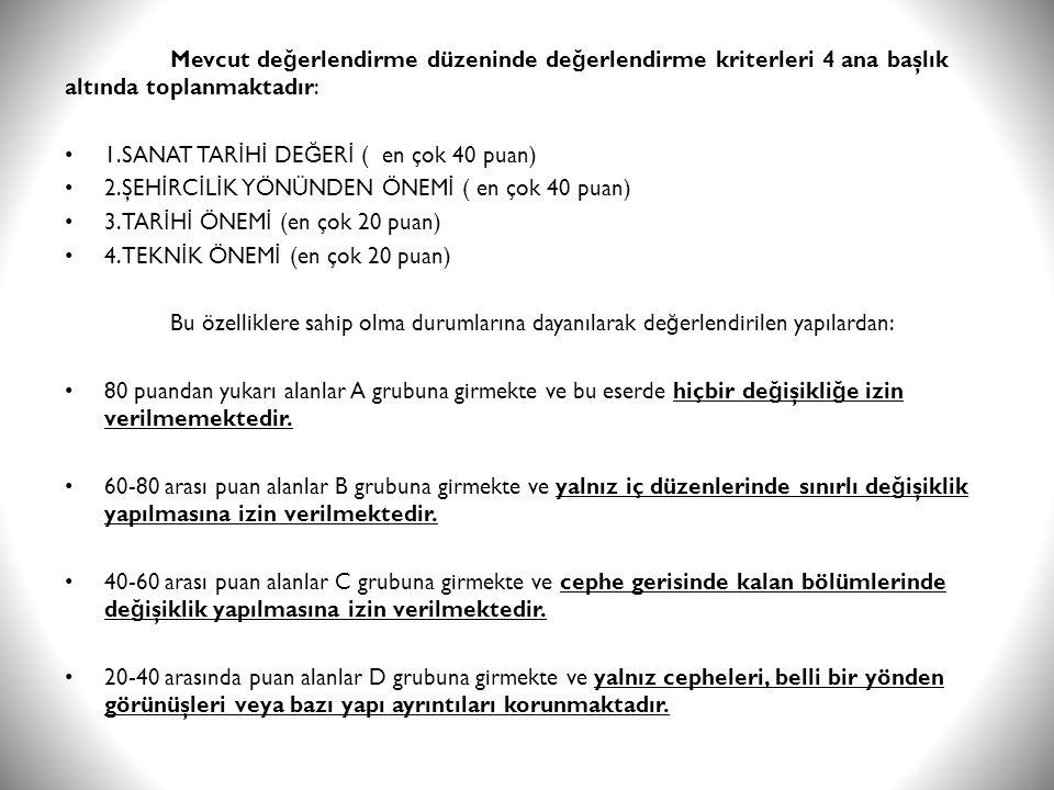 Mevcut de ğ erlendirme düzeninde de ğ erlendirme kriterleri 4 ana başlık altında toplanmaktadır: • 1.SANAT TAR İ H İ DE Ğ ER İ ( en çok 40 puan) • 2.Ş