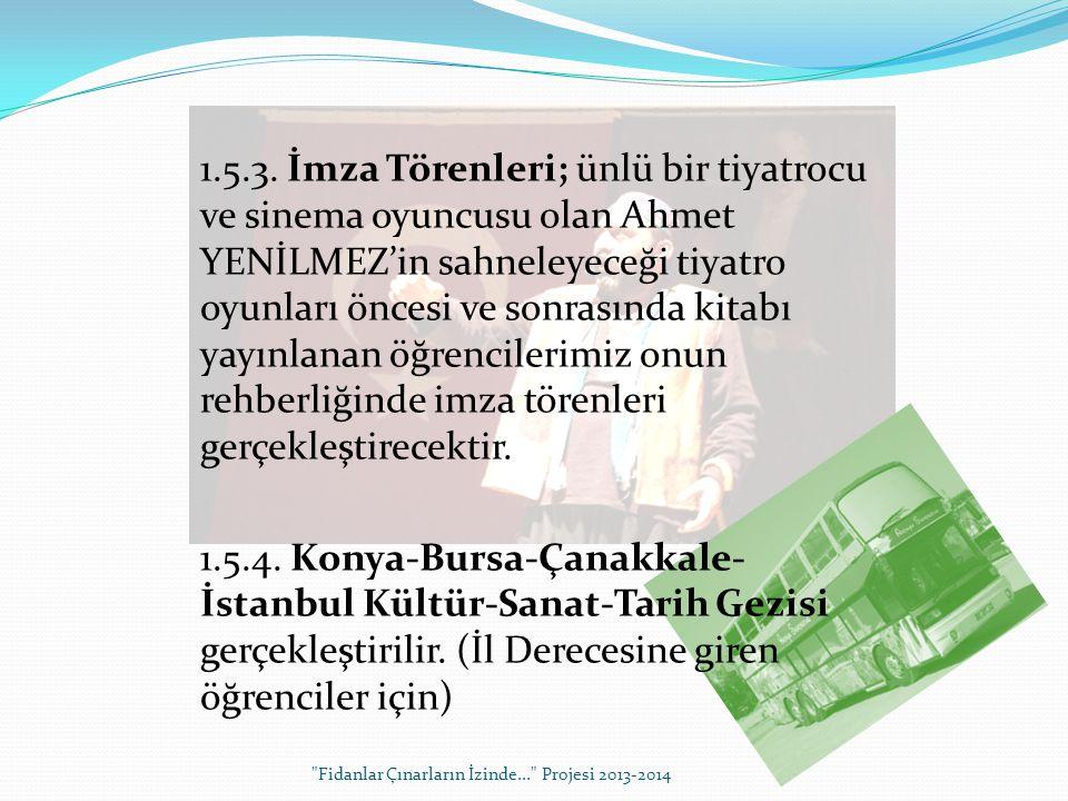 1.5.3. İmza Törenleri; ünlü bir tiyatrocu ve sinema oyuncusu olan Ahmet YENİLMEZ'in sahneleyeceği tiyatro oyunları öncesi ve sonrasında kitabı yayınla