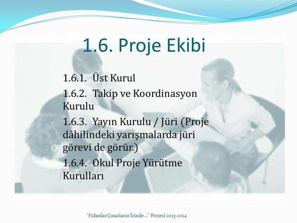 1.6.1.Üst Kurul 1.6.2.Takip ve Koordinasyon Kurulu 1.6.3.Yayın Kurulu / Jüri (Proje dâhilindeki yarışmalarda jüri görevi de görür.) 1.6.4.Okul Proje Y