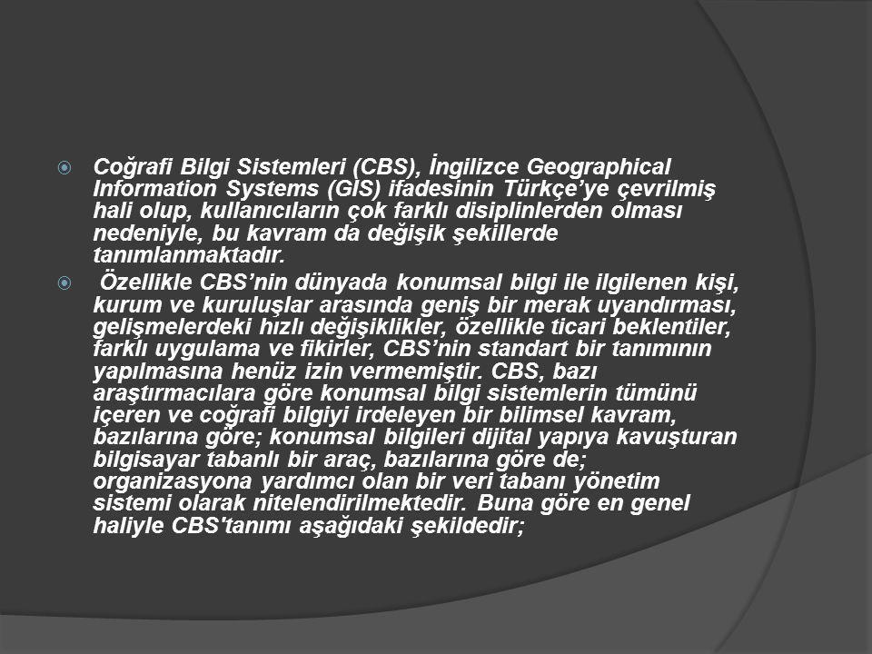  Coğrafi Bilgi Sistemleri (CBS), İngilizce Geographical Information Systems (GIS) ifadesinin Türkçe'ye çevrilmiş hali olup, kullanıcıların çok farklı