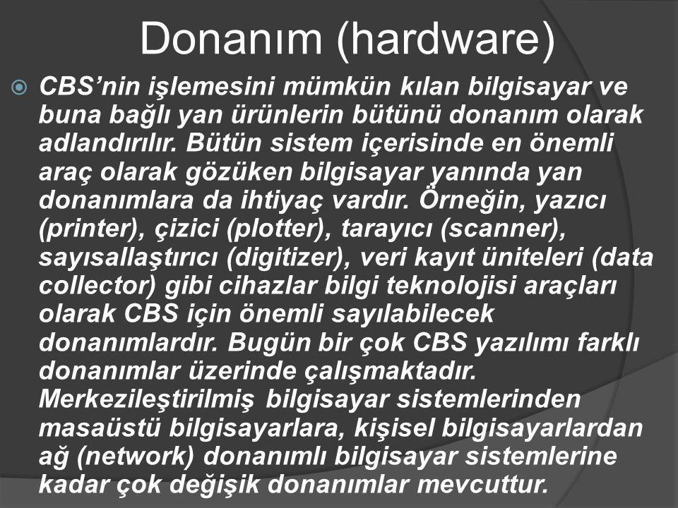 Donanım (hardware)  CBS'nin işlemesini mümkün kılan bilgisayar ve buna bağlı yan ürünlerin bütünü donanım olarak adlandırılır. Bütün sistem içerisind