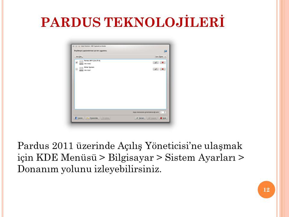 PARDUS TEKNOLOJİLERİ Pardus 2011 üzerinde Açılış Yöneticisi'ne ulaşmak için KDE Menüsü > Bilgisayar > Sistem Ayarları > Donanım yolunu izleyebilirsini