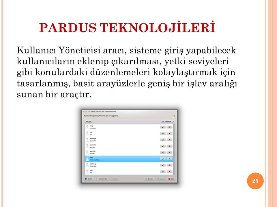 PARDUS TEKNOLOJİLERİ Kullanıcı Yöneticisi aracı, sisteme giriş yapabilecek kullanıcıların eklenip çıkarılması, yetki seviyeleri gibi konulardaki düzen