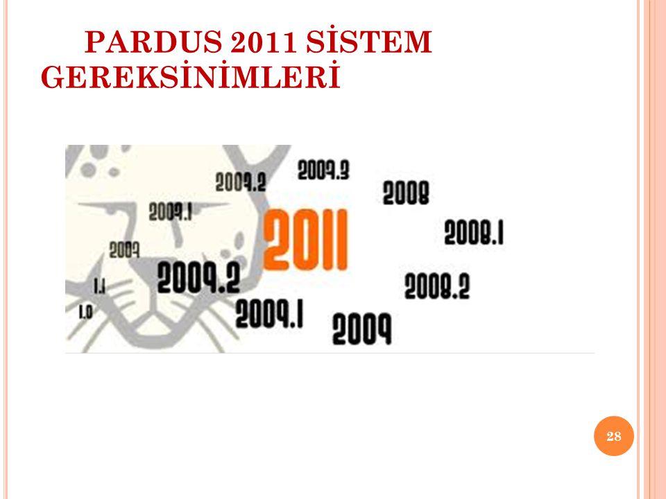 PARDUS 2011 SİSTEM GEREKSİNİMLERİ 28