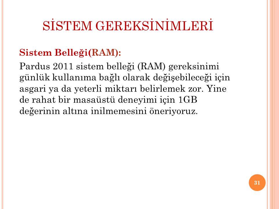 SİSTEM GEREKSİNİMLERİ Sistem Belleği(RAM): Pardus 2011 sistem belleği (RAM) gereksinimi günlük kullanıma bağlı olarak değişebileceği için asgari ya da