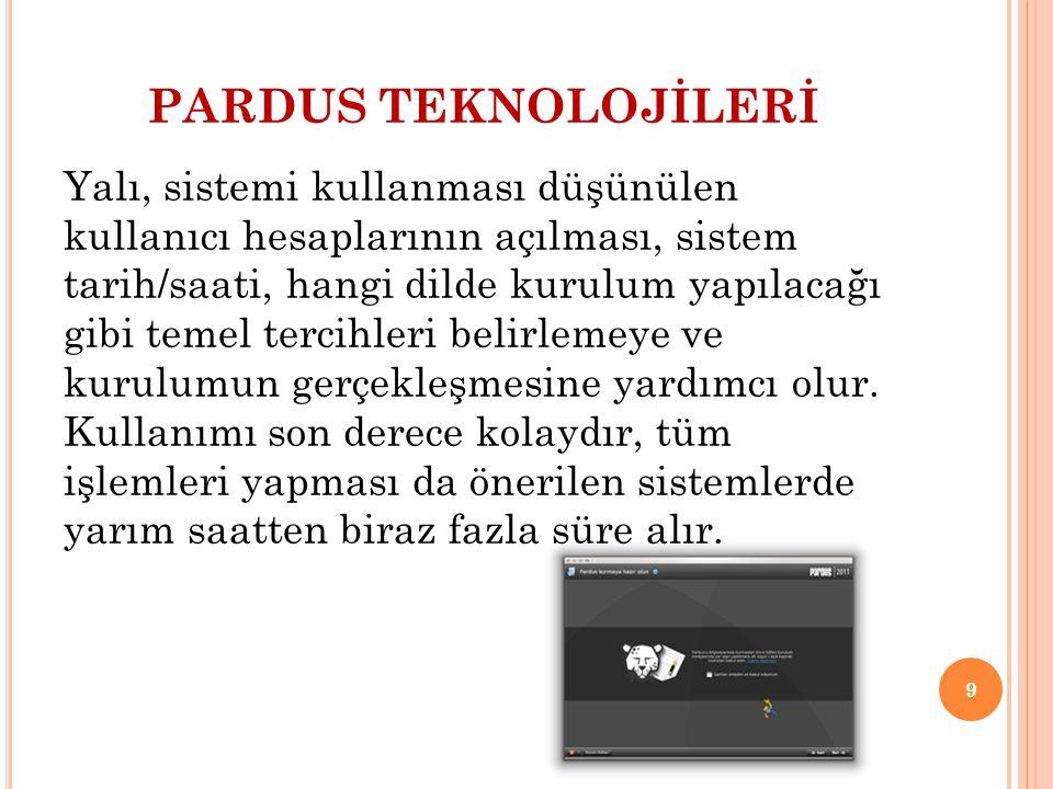 PARDUS TEKNOLOJİLERİ AÇILIŞ YÖNETİCİSİ Pardus, diğer işletim sistemleriyle aynı bilgisayarda çalışabilir.