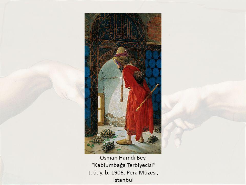 """Osman Hamdi Bey, """"Kablumbağa Terbiyecisi"""" t. ü. y. b, 1906, Pera Müzesi, İstanbul"""