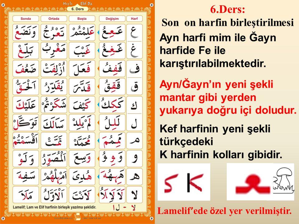Lamelif ' ede ö zel yer verilmiştir. 6.Ders: Son on harfin birleştirilmesi Ayn harfi mim ile Ğayn harfide Fe ile karıştırılabilmektedir. Ayn/Ğayn'ın y