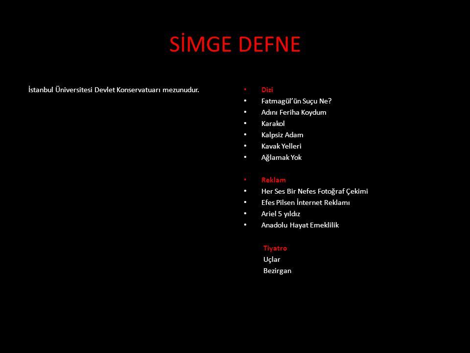 İstanbul Üniversitesi Devlet Konservatuarı mezunudur. • Dizi • Fatmagül'ün Suçu Ne? • Adını Feriha Koydum • Karakol • Kalpsiz Adam • Kavak Yelleri • A