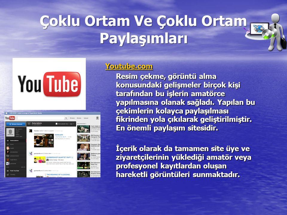 Çoklu Ortam Ve Çoklu Ortam Paylaşımları Youtube.com Resim çekme, görüntü alma konusundaki gelişmeler birçok kişi tarafından bu işlerin amatörce yapılm