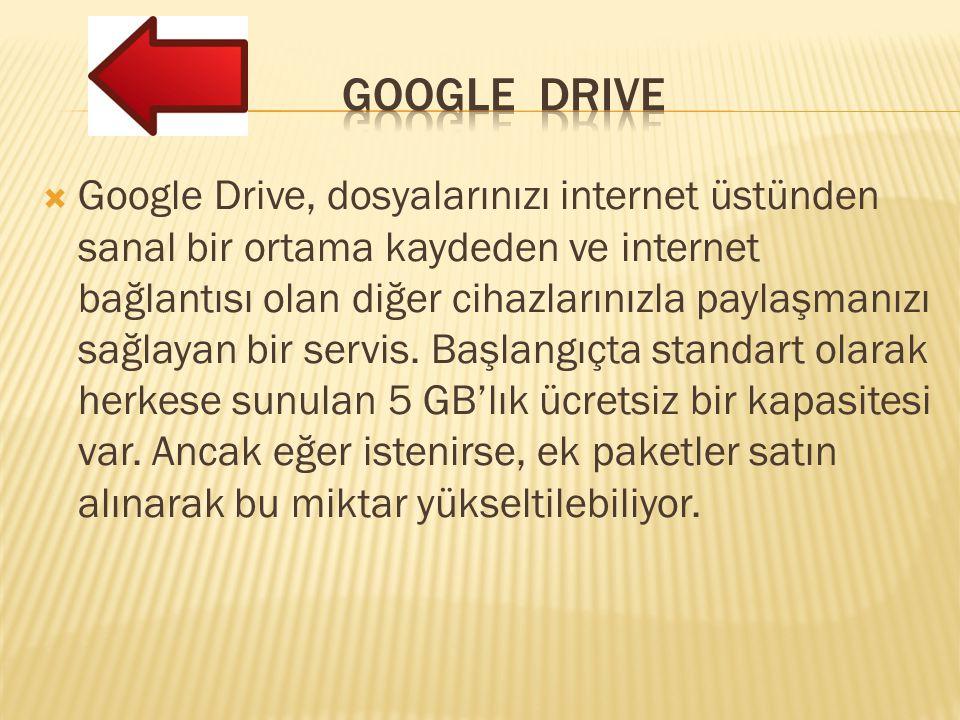  Google Drive, dosyalarınızı internet üstünden sanal bir ortama kaydeden ve internet bağlantısı olan diğer cihazlarınızla paylaşmanızı sağlayan bir servis.