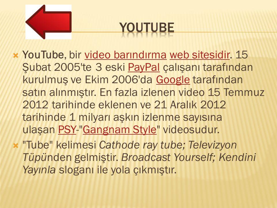  YouTube, bir video barındırma web sitesidir. 15 Şubat 2005'te 3 eski PayPal çalışanı tarafından kurulmuş ve Ekim 2006'da Google tarafından satın alı