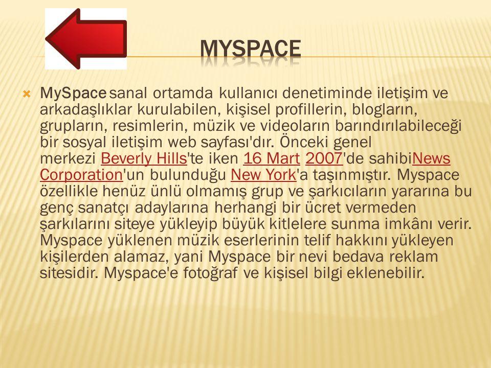  MySpace sanal ortamda kullanıcı denetiminde iletişim ve arkadaşlıklar kurulabilen, kişisel profillerin, blogların, grupların, resimlerin, müzik ve videoların barındırılabileceği bir sosyal iletişim web sayfası dır.