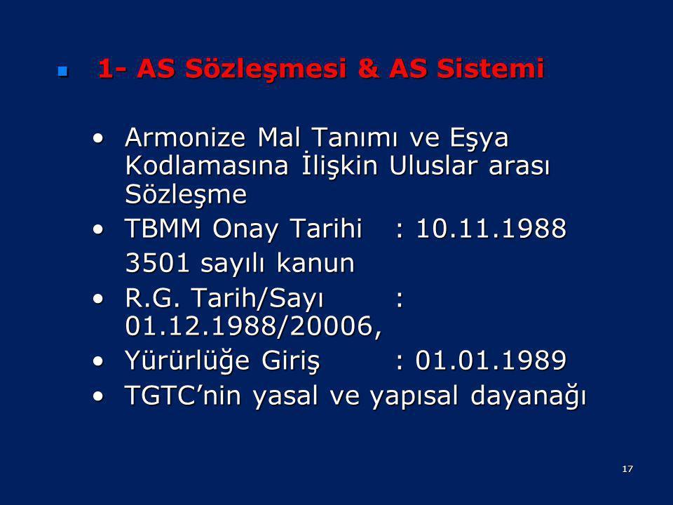 •Armonize Sistem (HS) Sözleşmesi •Gümrük Kanunu •474 sayılı Gümrük Giriş Tarife Cetveli Hakkında Kanun •Gümrük Yönetmeliği •Türk Gümrük Tarife Cetveli