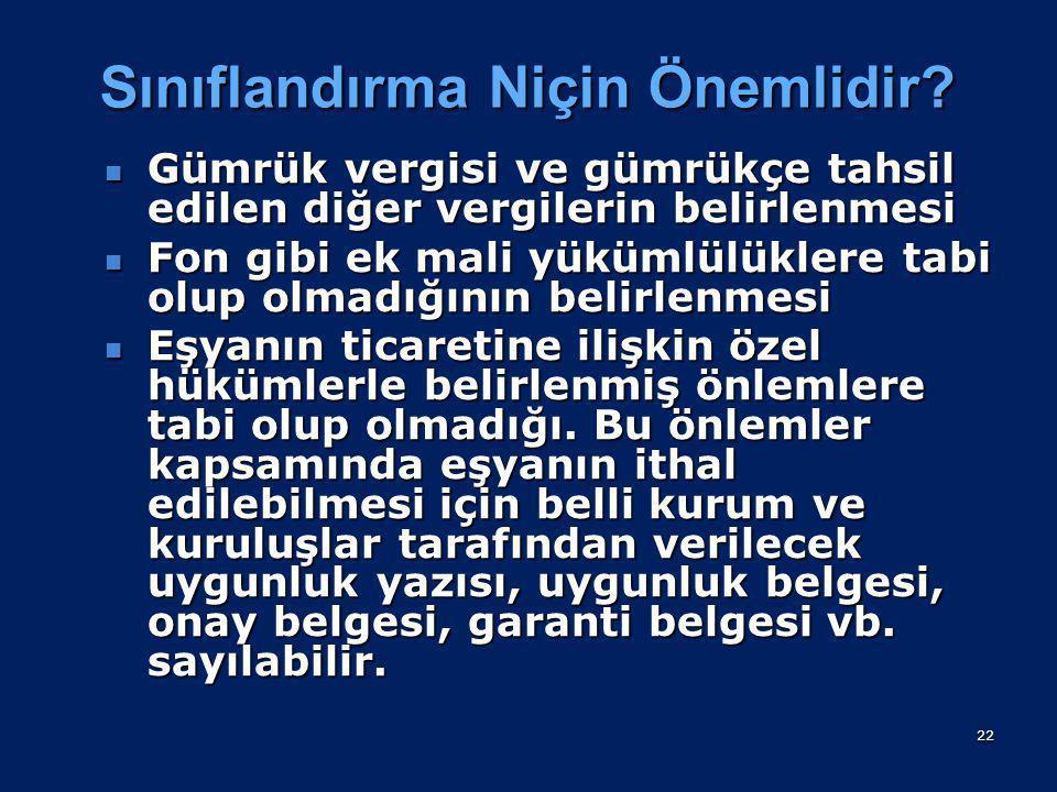 Sınıflandırma Nedir? Sınıflandırma işlemi; eşyanın Türk Gümrük Tarife Cetvelinde, tamamen ya da kısmen Türk Gümrük Tarife Cetveline dayanan veya bu ce