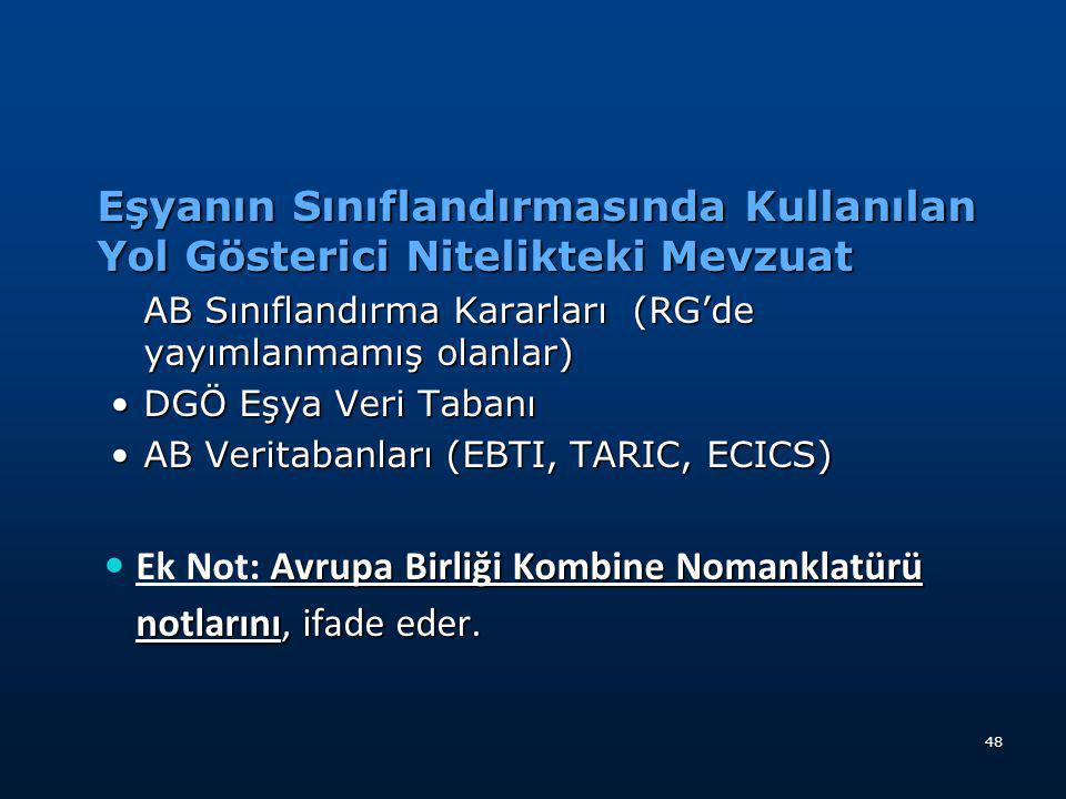  Türk Gümrük Tarife Cetveli  Gümrük Tarife Cetveli İzahnamesi  Alfabetik Eşya Fihristi  AB Açıklama Notları  AS Sınıflandırma Kararları  DGÖ Sın