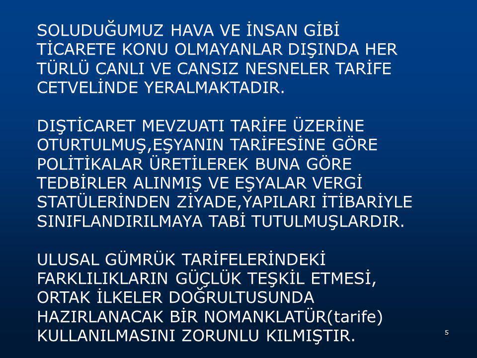 BÖLÜM BAŞLIĞI: Türk Gümrük tarife cetvelinde bulunan her bölümün başında yer alan ve tarifenin yorumu bakımından bağlayıcı olmayıp yol gösterici nitelikte olan ibarelerdir.
