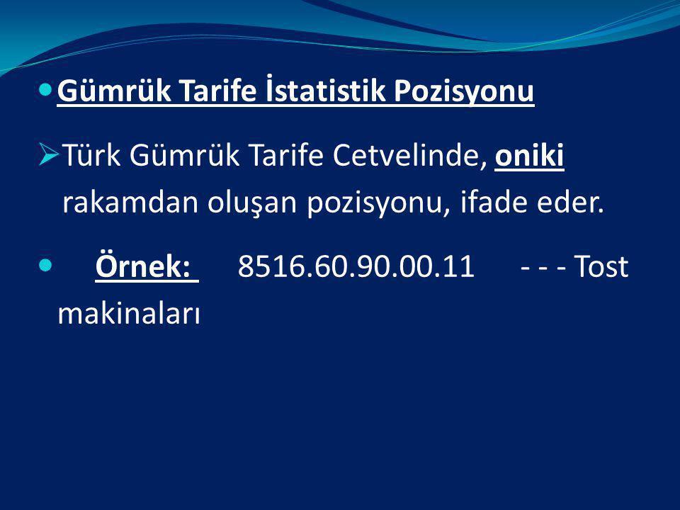 ALT TARİFE POZİSYONU: Türk Gümrük tarife cetvelinde pozisyon numarasını izleyen iki rakam alt pozisyon numarasıdır. Ancak, iki rakamla tek başına deği