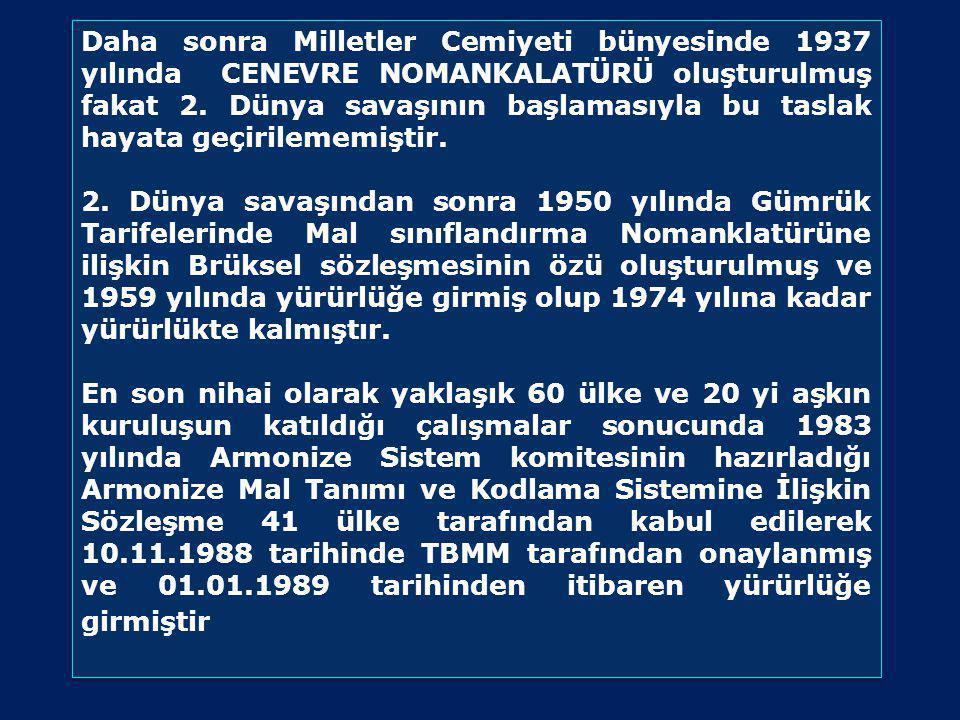 Daha sonra Milletler Cemiyeti bünyesinde 1937 yılında CENEVRE NOMANKALATÜRÜ oluşturulmuş fakat 2.