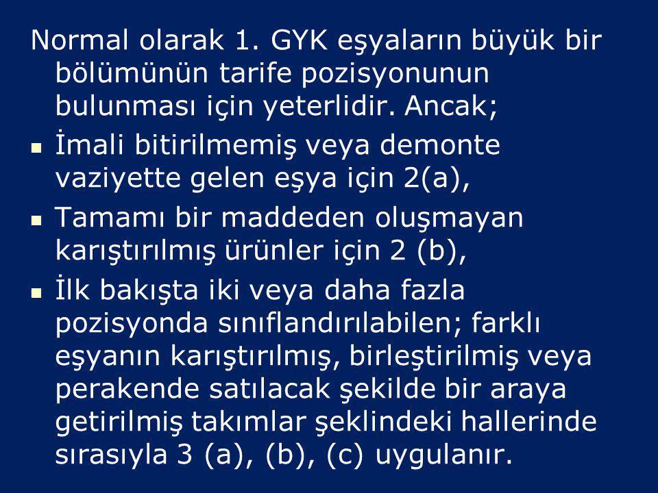   6 Adet Genel Yorum Kuralı (GYK) bulunmaktadır.   1 ilâ 4. GYK'ları tarife pozisyonu bazında (4'lü) sınıflandırmayı düzenler, hiyerarşik olarak u
