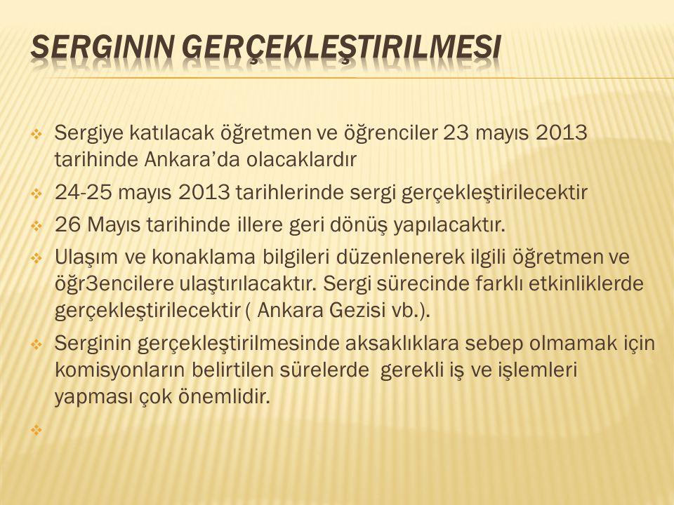  Sergiye katılacak öğretmen ve öğrenciler 23 mayıs 2013 tarihinde Ankara'da olacaklardır  24-25 mayıs 2013 tarihlerinde sergi gerçekleştirilecektir