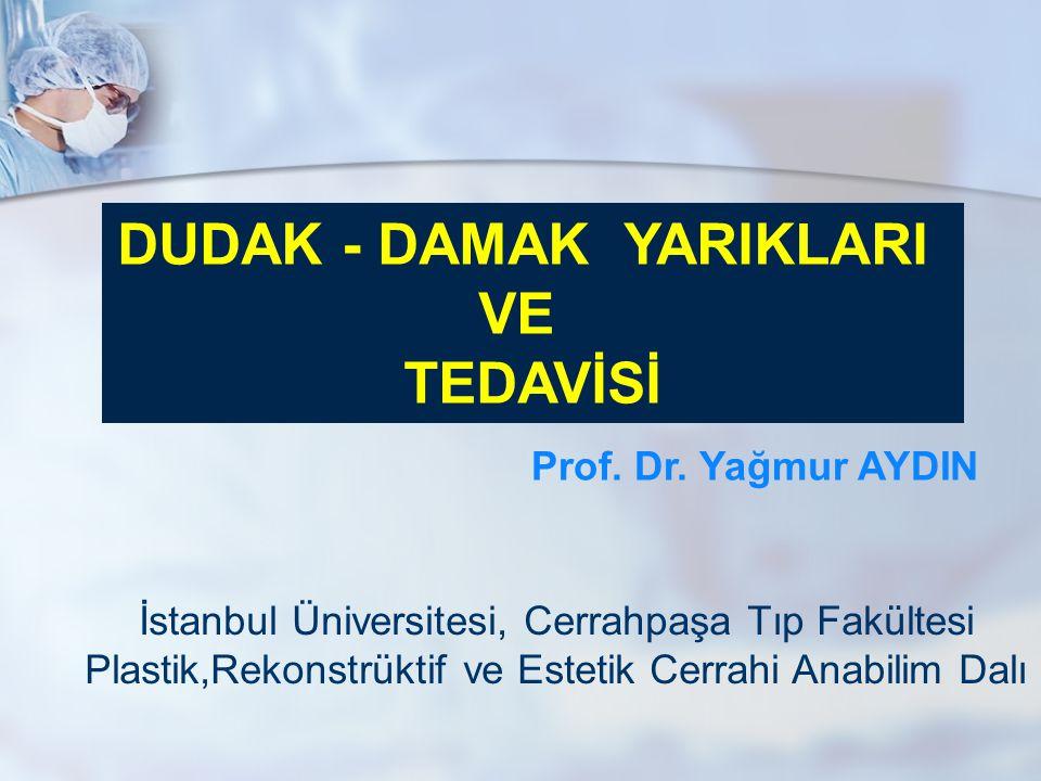 DUDAK - DAMAK YARIKLARI VE TEDAVİSİ Prof. Dr. Yağmur AYDIN İstanbul Üniversitesi, Cerrahpaşa Tıp Fakültesi Plastik,Rekonstrüktif ve Estetik Cerrahi An