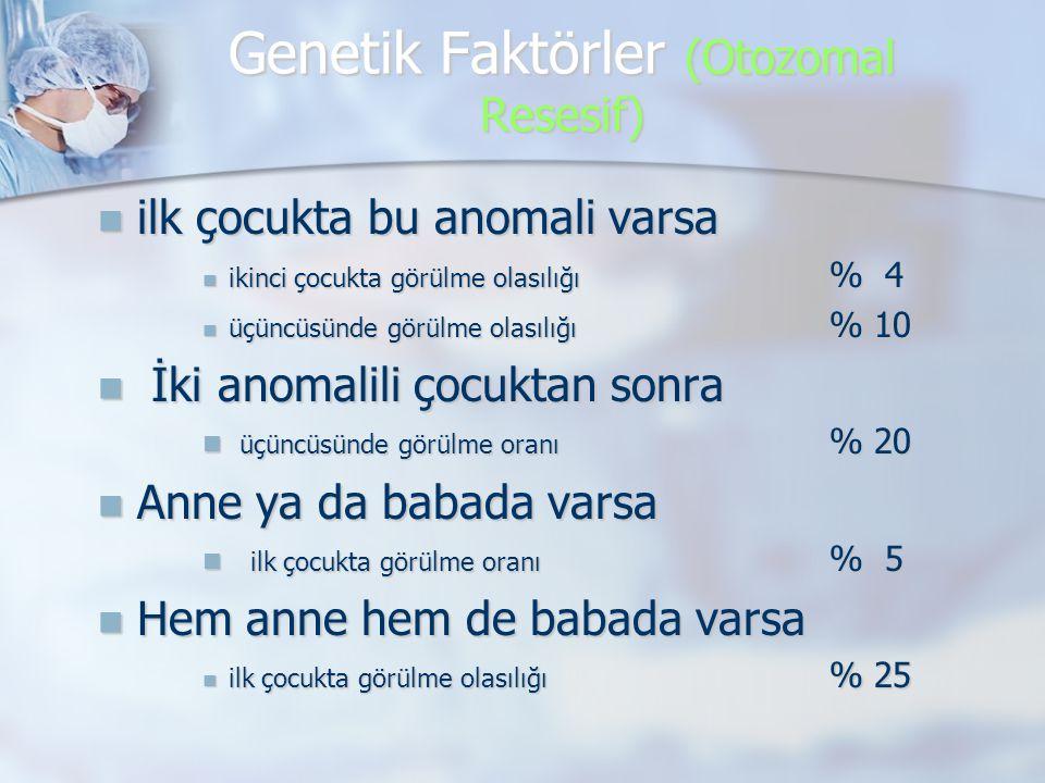 Genetik Faktörler (Otozomal Resesif)  ilk çocukta bu anomali varsa  ikinci çocukta görülme olasılığı % 4  üçüncüsünde görülme olasılığı % 10  İki