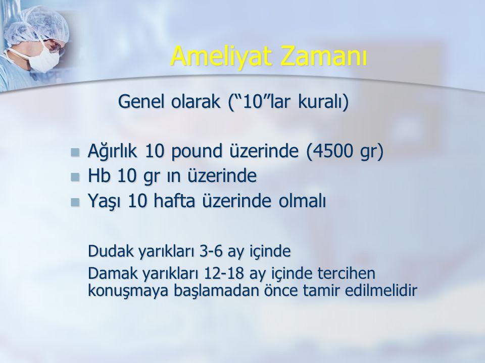 """Ameliyat Zamanı Genel olarak (""""10""""lar kuralı)  Ağırlık 10 pound üzerinde (4500 gr)  Hb 10 gr ın üzerinde  Yaşı 10 hafta üzerinde olmalı Dudak yarık"""