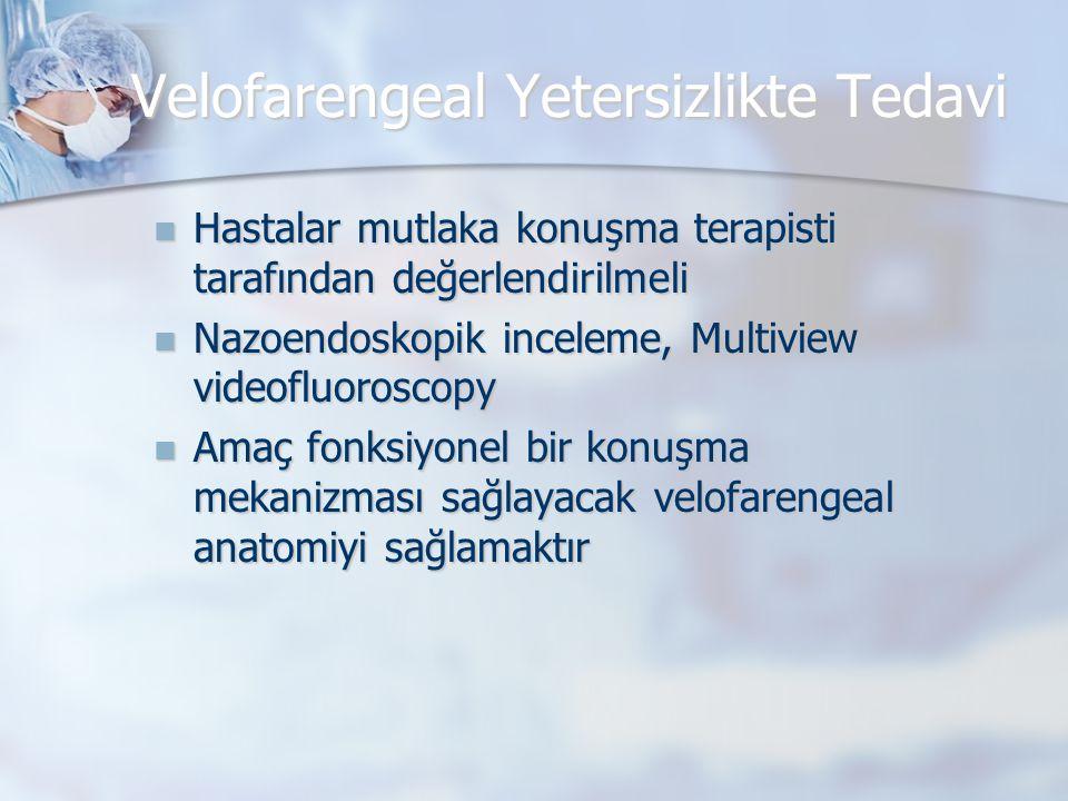 Velofarengeal Yetersizlikte Tedavi  Hastalar mutlaka konuşma terapisti tarafından değerlendirilmeli  Nazoendoskopik inceleme, Multiview videofluoros