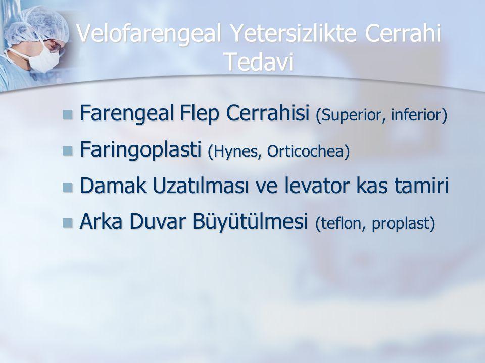 Velofarengeal Yetersizlikte Cerrahi Tedavi  Farengeal Flep Cerrahisi (Superior, inferior)  Faringoplasti (Hynes, Orticochea)  Damak Uzatılması ve l