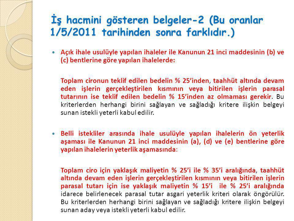 İş hacmini gösteren belgeler-2 (Bu oranlar 1/5/2011 tarihinden sonra farklıdır.) İş hacmini gösteren belgeler-2 (Bu oranlar 1/5/2011 tarihinden sonra