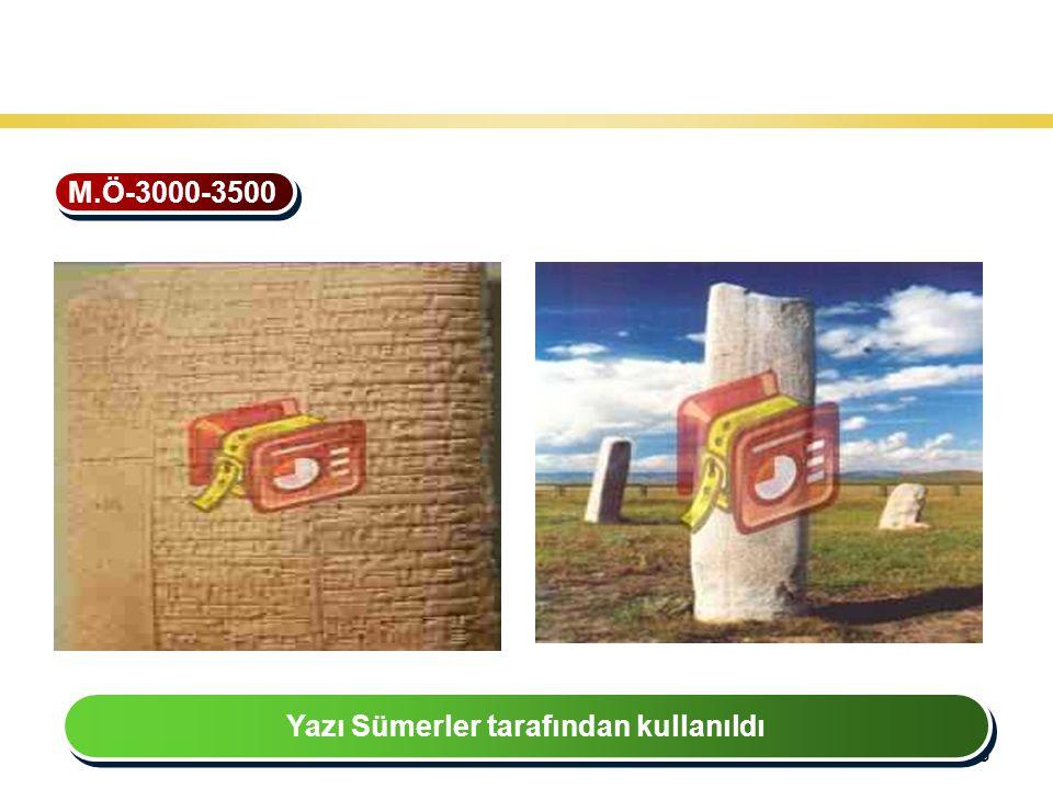26 Teknoloji Gelişiminin Tarihsel Seyri M.Ö-3000-3500 Yazı Sümerler tarafından kullanıldı