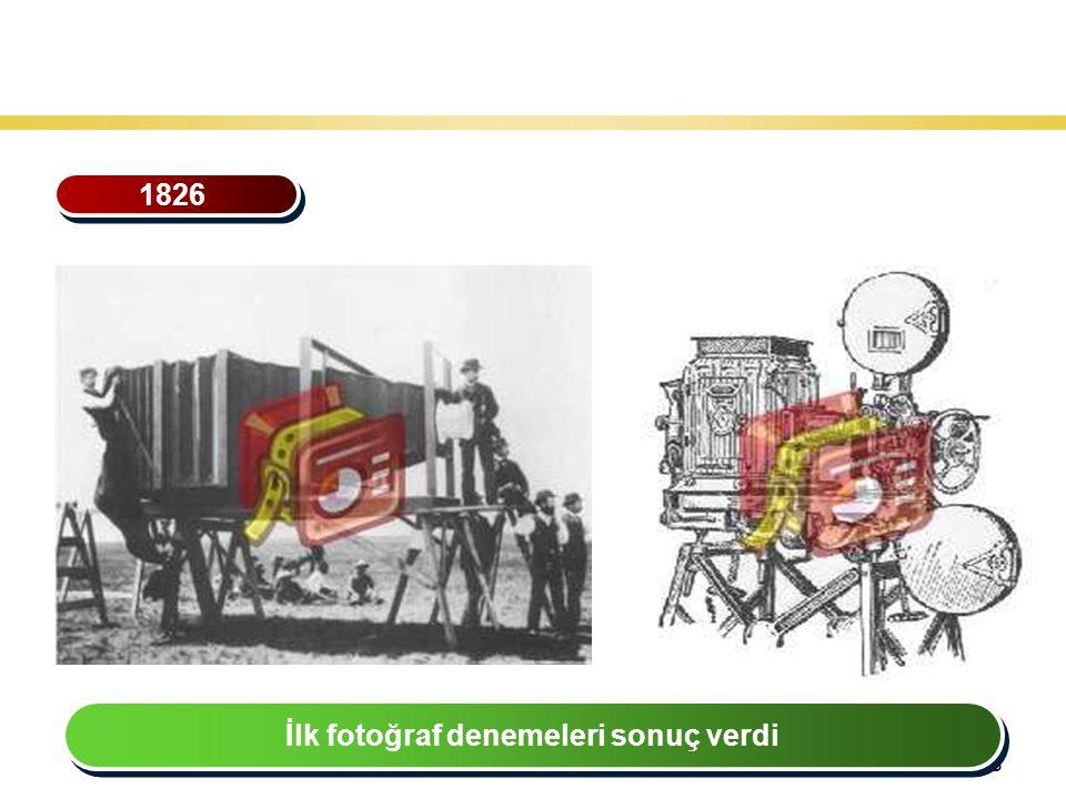 28 Teknoloji Gelişiminin Tarihsel Seyri 1826 İlk fotoğraf denemeleri sonuç verdi