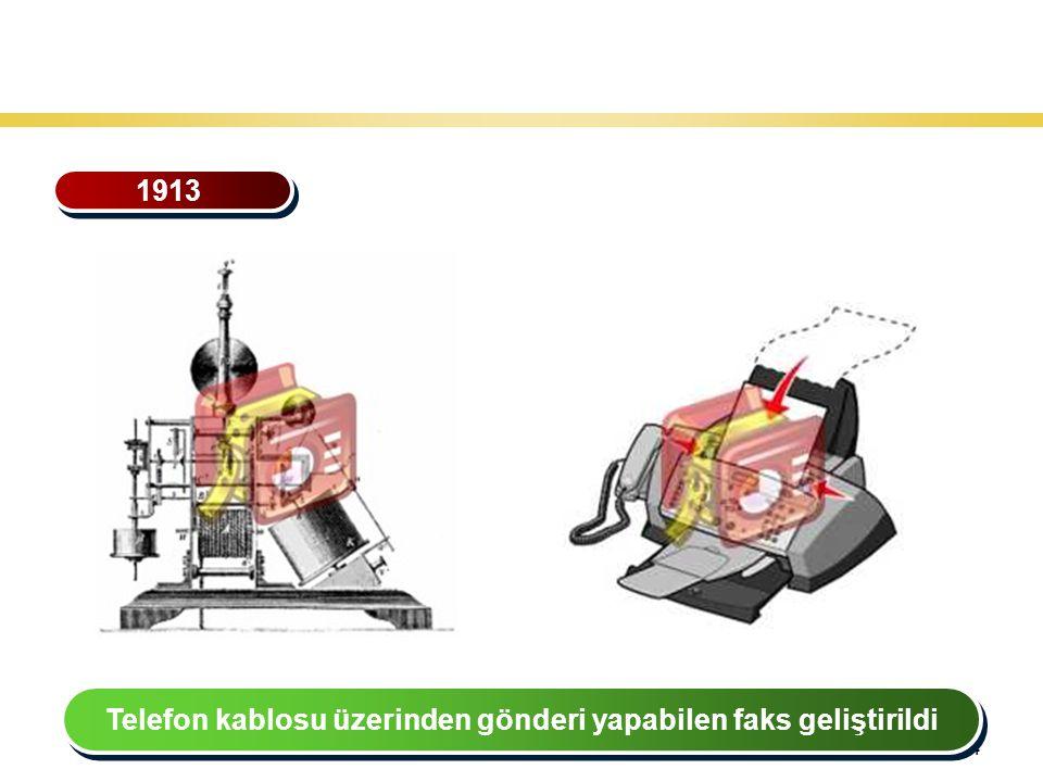 34 Teknoloji Gelişiminin Tarihsel Seyri 1913 Telefon kablosu üzerinden gönderi yapabilen faks geliştirildi