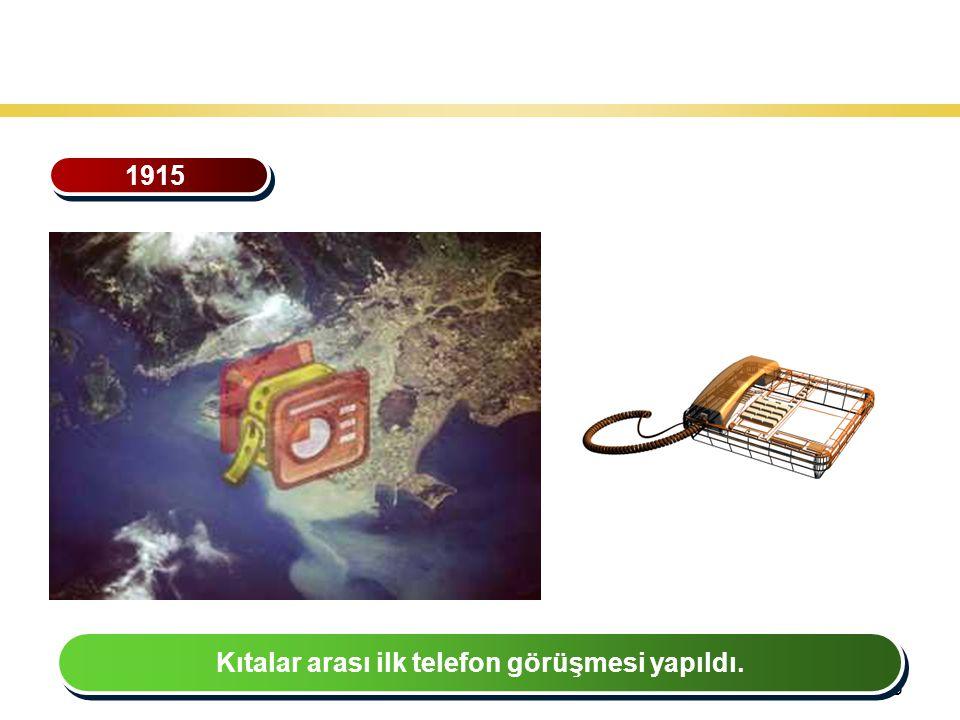 35 Teknoloji Gelişiminin Tarihsel Seyri 1915 Kıtalar arası ilk telefon görüşmesi yapıldı.