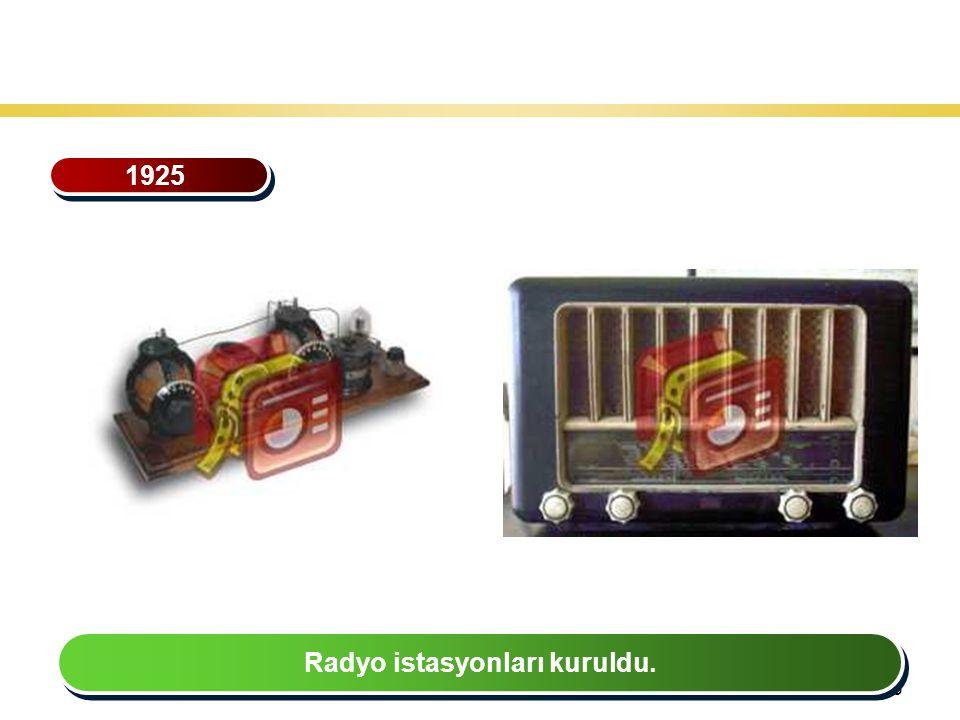 36 Teknoloji Gelişiminin Tarihsel Seyri 1925 Radyo istasyonları kuruldu.