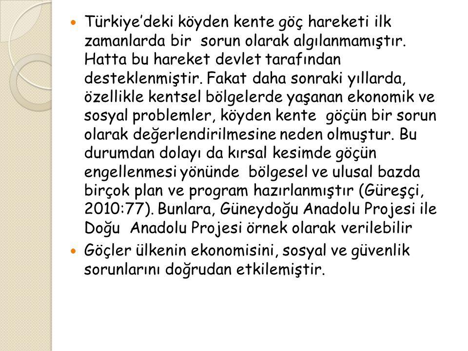  Türkiye'deki köyden kente göç hareketi ilk zamanlarda bir sorun olarak algılanmamıştır.