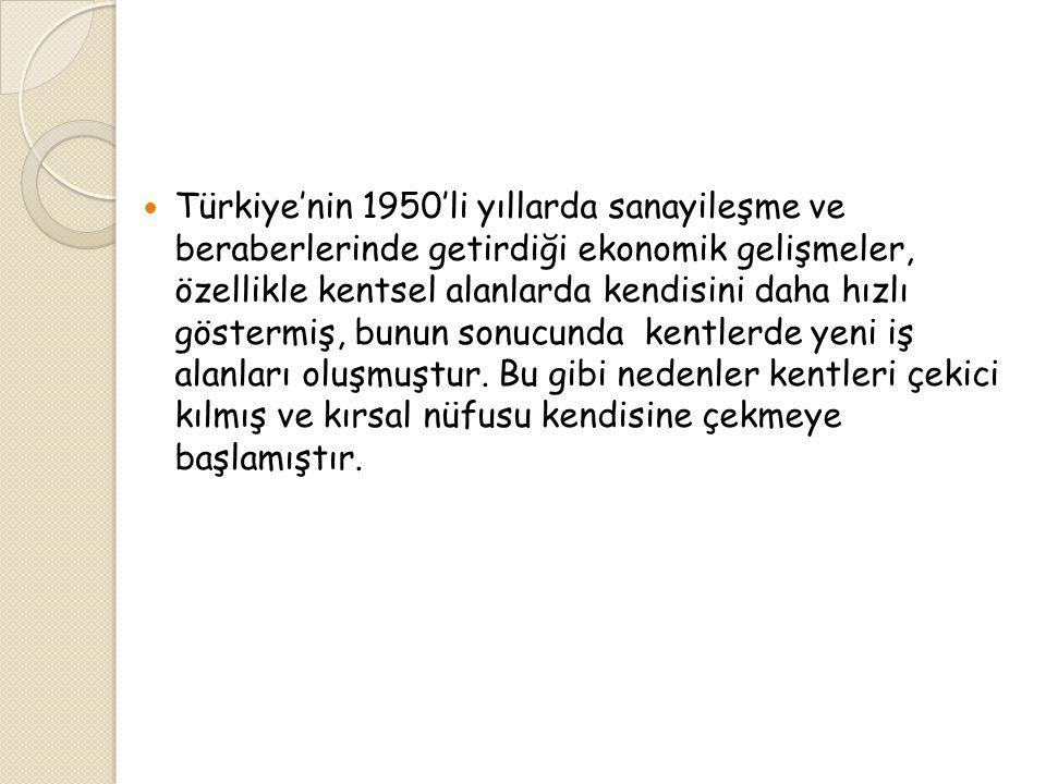  Türkiye'nin 1950'li yıllarda sanayileşme ve beraberlerinde getirdiği ekonomik gelişmeler, özellikle kentsel alanlarda kendisini daha hızlı göstermiş, bunun sonucunda kentlerde yeni iş alanları oluşmuştur.