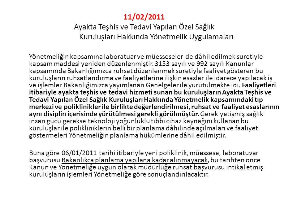 11/02/2011 Ayakta Teşhis ve Tedavi Yapılan Özel Sağlık Kuruluşları Hakkında Yönetmelik Uygulamaları Yönetmeliğin kapsamına laboratuar ve müesseseler d