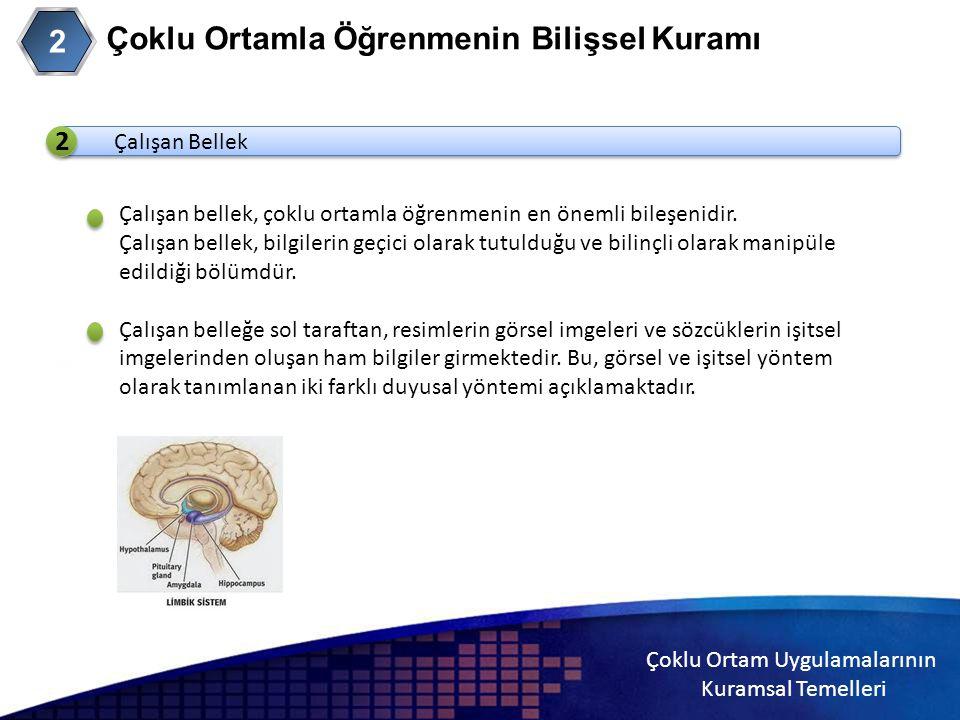 Çoklu Ortam Uygulamalarının Kuramsal Temelleri 2 Çoklu Ortamla Öğrenmenin Bilişsel Kuramı 2 Çalışan Bellek 2 Çalışan bellek, çoklu ortamla öğrenmenin