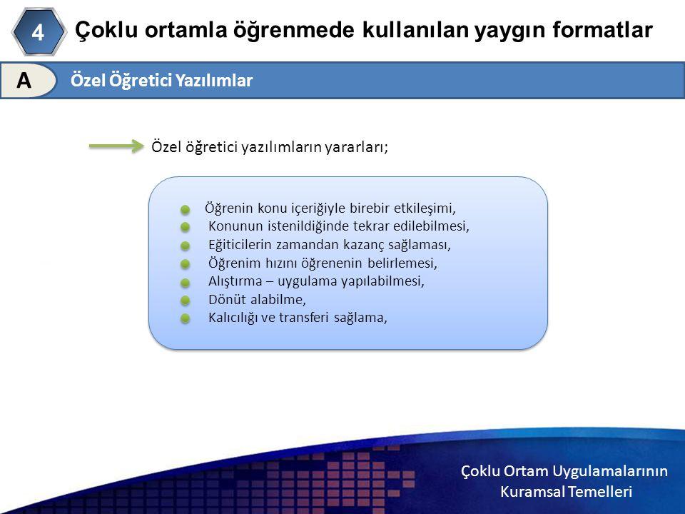 Çoklu Ortam Uygulamalarının Kuramsal Temelleri Çoklu ortamla öğrenmede kullanılan yaygın formatlar Özel Öğretici Yazılımlar 4 A Özel öğretici yazılıml