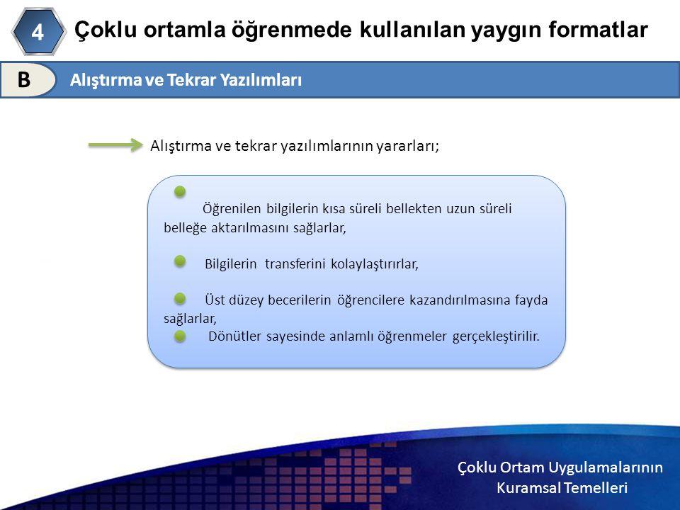 Çoklu Ortam Uygulamalarının Kuramsal Temelleri Çoklu ortamla öğrenmede kullanılan yaygın formatlar Alıştırma ve Tekrar Yazılımları B 4 Alıştırma ve te