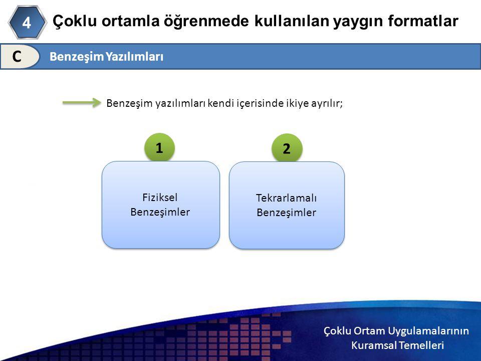 Çoklu Ortam Uygulamalarının Kuramsal Temelleri Çoklu ortamla öğrenmede kullanılan yaygın formatlar 4 C Benzeşim yazılımları kendi içerisinde ikiye ayr