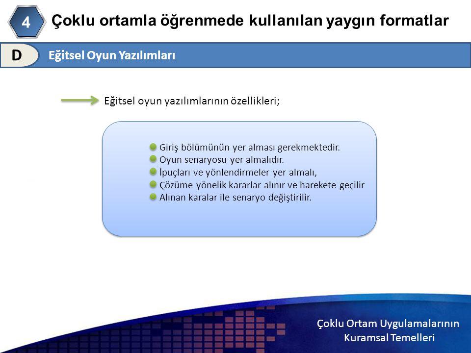 Çoklu Ortam Uygulamalarının Kuramsal Temelleri Çoklu ortamla öğrenmede kullanılan yaygın formatlar 4 D Eğitsel oyun yazılımlarının özellikleri; Giriş