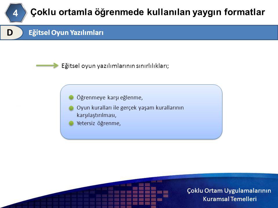 Çoklu Ortam Uygulamalarının Kuramsal Temelleri Çoklu ortamla öğrenmede kullanılan yaygın formatlar 4 D Eğitsel oyun yazılımlarının sınırlılıkları; Öğr