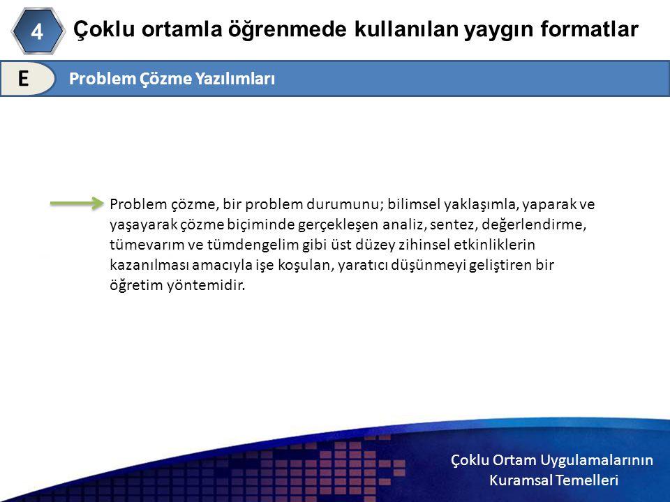 Çoklu Ortam Uygulamalarının Kuramsal Temelleri Çoklu ortamla öğrenmede kullanılan yaygın formatlar Problem Çözme Yazılımları E 4 Problem çözme, bir pr