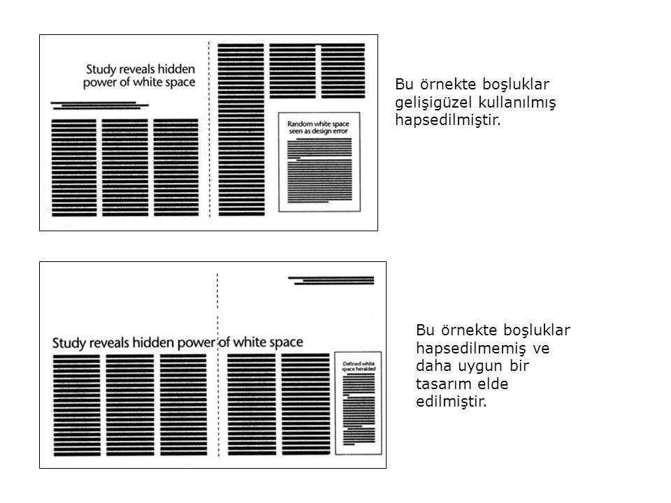 Bu örnekte boşluklar gelişigüzel kullanılmış hapsedilmiştir. Bu örnekte boşluklar hapsedilmemiş ve daha uygun bir tasarım elde edilmiştir.