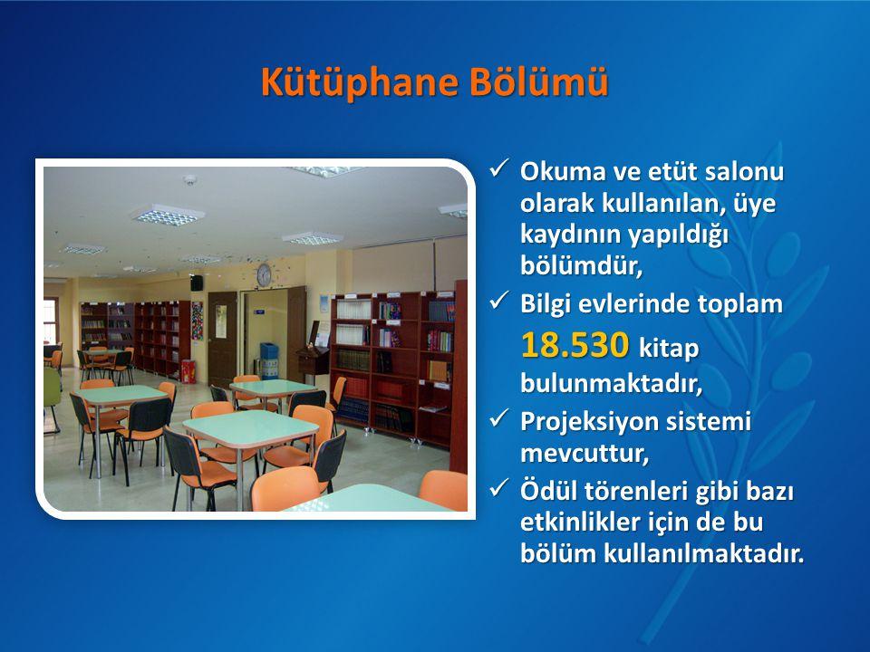 Kütüphane Bölümü  Okuma ve etüt salonu olarak kullanılan, üye kaydının yapıldığı bölümdür,  Bilgi evlerinde toplam 18.530 kitap bulunmaktadır,  Pro
